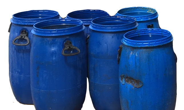 dirty oil barrels